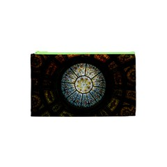 Black And Borwn Stained Glass Dome Roof Cosmetic Bag (XS)