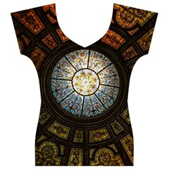 Black And Borwn Stained Glass Dome Roof Women s V-Neck Cap Sleeve Top