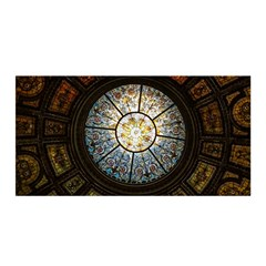 Black And Borwn Stained Glass Dome Roof Satin Wrap