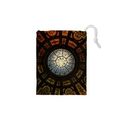Black And Borwn Stained Glass Dome Roof Drawstring Pouches (XS)