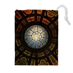 Black And Borwn Stained Glass Dome Roof Drawstring Pouches (Extra Large)