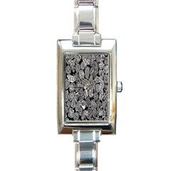 Black And White Art Pattern Historical Rectangle Italian Charm Watch