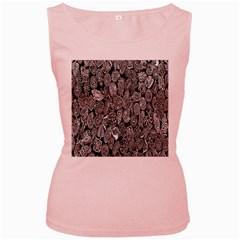 Black And White Art Pattern Historical Women s Pink Tank Top