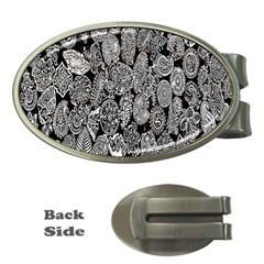 Black And White Art Pattern Historical Money Clips (Oval)