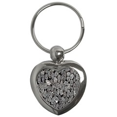 Black And White Art Pattern Historical Key Chains (Heart)