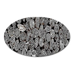 Black And White Art Pattern Historical Oval Magnet