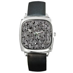 Black And White Art Pattern Historical Square Metal Watch