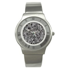 Black And White Art Pattern Historical Stainless Steel Watch