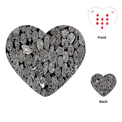 Black And White Art Pattern Historical Playing Cards (Heart)