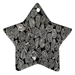 Black And White Art Pattern Historical Star Ornament (two Sides)