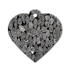 Black And White Art Pattern Historical Dog Tag Heart (one Side)