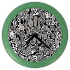 Black And White Art Pattern Historical Color Wall Clocks