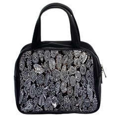 Black And White Art Pattern Historical Classic Handbags (2 Sides)