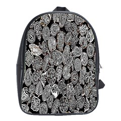 Black And White Art Pattern Historical School Bags(Large)