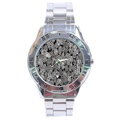 Black And White Art Pattern Historical Stainless Steel Analogue Watch