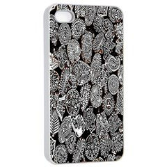 Black And White Art Pattern Historical Apple iPhone 4/4s Seamless Case (White)