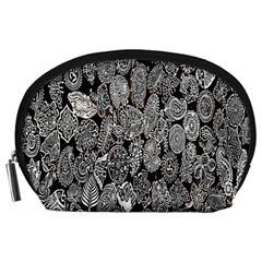 Black And White Art Pattern Historical Accessory Pouches (large)