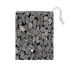 Black And White Art Pattern Historical Drawstring Pouches (large)