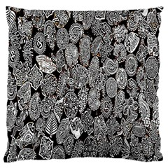 Black And White Art Pattern Historical Large Flano Cushion Case (two Sides)