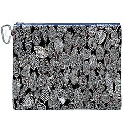 Black And White Art Pattern Historical Canvas Cosmetic Bag (XXXL)