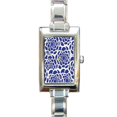 Blue And White Flower Background Rectangle Italian Charm Watch