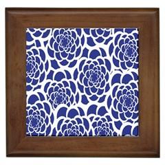 Blue And White Flower Background Framed Tiles