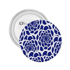 Blue And White Flower Background 2.25  Buttons