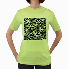 Blue And White Flower Background Women s Green T-Shirt