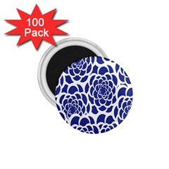 Blue And White Flower Background 1.75  Magnets (100 pack)