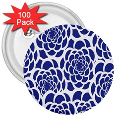 Blue And White Flower Background 3  Buttons (100 Pack)