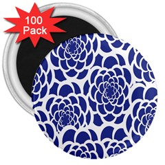 Blue And White Flower Background 3  Magnets (100 pack)