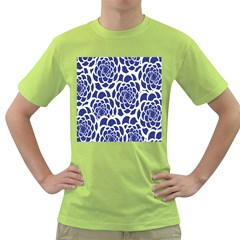 Blue And White Flower Background Green T-Shirt
