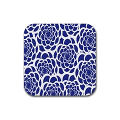 Blue And White Flower Background Rubber Coaster (square)