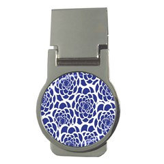 Blue And White Flower Background Money Clips (round)