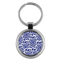 Blue And White Flower Background Key Chains (Round)
