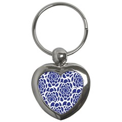 Blue And White Flower Background Key Chains (Heart)