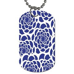 Blue And White Flower Background Dog Tag (two Sides)