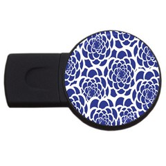 Blue And White Flower Background USB Flash Drive Round (2 GB)