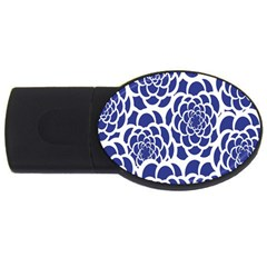 Blue And White Flower Background USB Flash Drive Oval (2 GB)