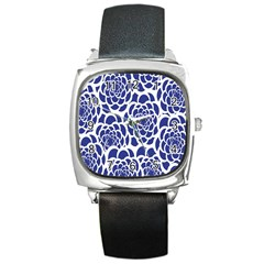 Blue And White Flower Background Square Metal Watch