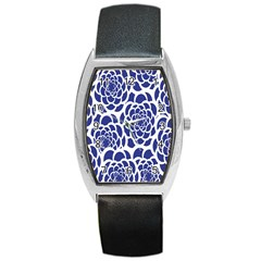 Blue And White Flower Background Barrel Style Metal Watch