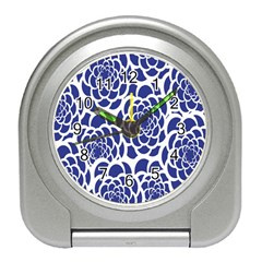 Blue And White Flower Background Travel Alarm Clocks