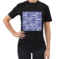 Blue And White Flower Background Women s T-Shirt (Black) (Two Sided)