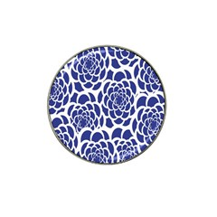 Blue And White Flower Background Hat Clip Ball Marker (4 pack)