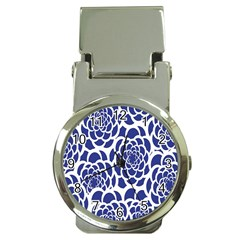 Blue And White Flower Background Money Clip Watches