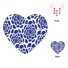 Blue And White Flower Background Playing Cards (heart)