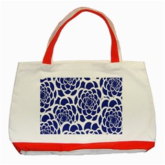 Blue And White Flower Background Classic Tote Bag (Red)
