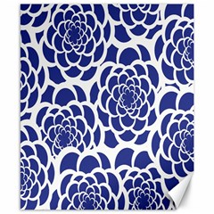Blue And White Flower Background Canvas 8  x 10