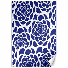Blue And White Flower Background Canvas 12  x 18