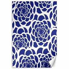 Blue And White Flower Background Canvas 24  x 36
